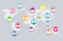 Vector social network diagram world map concept vector illustration
