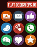 Vector social network icon set. Communication and media Flat icons for Web and Mobile App. Royalty Free Stock Photography