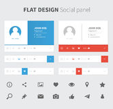Vector social panel in flat design Royalty Free Stock Images