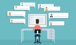 Vector sociale netwerkmededeling en zakenrelatie stock illustratie