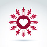Vector society donation symbol, compassion and love sign. People Stock Images