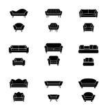Vector sofa and armchair icons Stock Photos