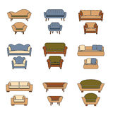 Vector sofa and armchair icons in retro colors  Royalty Free Stock Photos