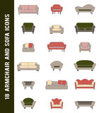 Vector sofa and armchair icons in retro colors  Royalty Free Stock Photo
