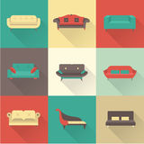 Vector sofa icons Royalty Free Stock Photos