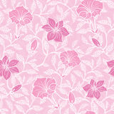 Vector soft pink lineart blossoms seamless pattern Stock Photos