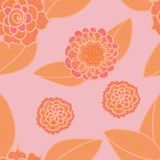 Vector soft pink seamless pattern with doodle orange flowers. Stock Photo