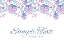 Vector soft purple flowers horizontal border Royalty Free Stock Image