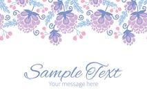 Vector soft purple flowers horizontal border Royalty Free Stock Image