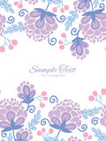 Vector soft purple flowers vertical double borders Stock Image