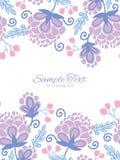 Vector soft purple flowers vertical double borders Stock Image
