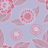 Vector soft purple seamless pattern with doodle pink flowers. Royalty Free Stock Photography