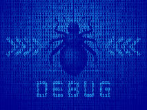 Vector software bug on computer monitor with binary code Royalty Free Stock Photography