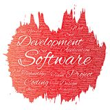 Vector software development project coding technology. Vector conceptual software development project coding technology paint brush word cloud isolated Stock Photo
