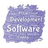 Vector software development project coding technology. Vector conceptual software development project coding technology paint brush word cloud isolated Stock Photos