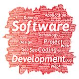 Vector software development project coding technology. Vector conceptual software development project coding technology paint brush word cloud isolated Stock Photography