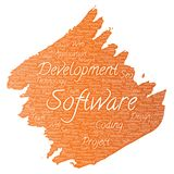 Vector software development project coding technology. Vector conceptual software development project coding technology paint brush word cloud isolated Stock Images