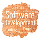 Vector software development project coding. Vector conceptual software development project coding technology paint brush word cloud isolated background. Collage Stock Images