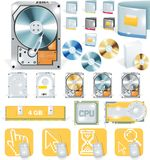 Vector software and hardware icon set. Detailed icons set - software and hardware theme vector illustration