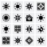 Vector Solar energy icon set. On grey background Royalty Free Stock Photography