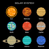 Vector Solar System with planets. Concept of the Solar System from simple shapes on dark background Stock Image