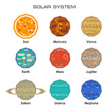 Vector Solar System with planets. Concept of the Solar System from simple shapes on white background Stock Images