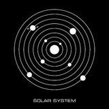 Vector Solar System with planets. Vector Illustration of the Solar System on black background Royalty Free Stock Images