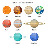 Vector solar system with planets. Illustration of our Solar System with Planets Royalty Free Stock Photos