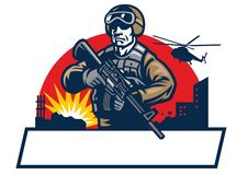 Soldier mascot hold the assault rifle stock illustration