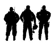 Vector soldiers monochrome. Abstract silhouette vector illustration of soldiers Stock Photo