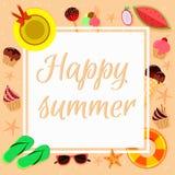 Vector Sommerhintergrund im flachen Design mit Sommergegenständen lizenzfreie abbildung