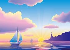 Vector Sonnenuntergang- oder Sonnenaufgangmeerblick mit Segelboot und Leuchtturm stock abbildung