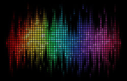 Vector Sound wave display Dots. A rainbow-colored sound wave composed by round dots set against a black background stock illustration