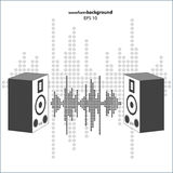 Vector sound wave with speakers. Stock Photo