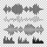 Vector sound waveforms icon. Sound waves and musical pulse vecto Stock Images
