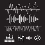 Vector Sound Waveforms. Sound waves Stock Image