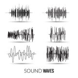 Vector sound waves set. Audio equalizer technology, music pulse. Vector illustration Royalty Free Stock Photography