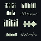 Vector sound waves set. Music elements . royalty free illustration