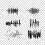Vector sound waves set on transparent. Audio equalizer technology, music pulse. Vector illustration Royalty Free Stock Image