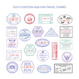 Vector south eastern asia color travel visa stamps set Stock Photo