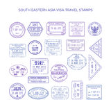 Vector south eastern asia common travel visa stamps set Royalty Free Stock Photos