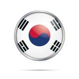 Vector South Korean flag Button. South Korea flag in glass butto Royalty Free Stock Photo