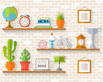Vector souvenirs and home decor the shelves. Home decor, houseplants and souvenirs on shelves. Interior accessory on the background of brick wall. Vector Royalty Free Stock Photography