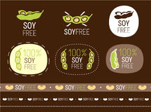 Vector soy free sign set Stock Image