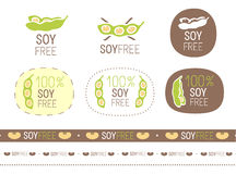 Vector soy free sign set Royalty Free Stock Photos