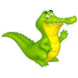 Vector Spaß-Krokodilzeichen der Karikatur glückliches Lizenzfreie Stockfotos