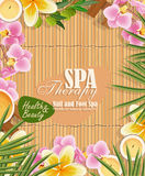 Vector spa background with tropical flowers Stock Photo