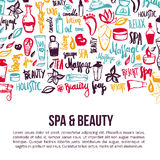 Vector spa and care doodle design elements with hand drawn lettering.  Royalty Free Stock Photos
