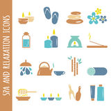 Vector spa and relaxation icons  on white Royalty Free Stock Photography