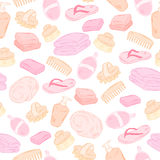 Vector spa seamless pattern with hand drawn hygiene objects - slippers, towel, soap, wisp Stock Photography